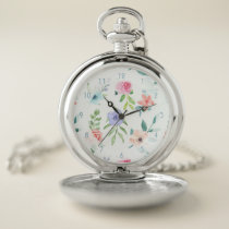Pastel Watercolor Floral Pocket Watch