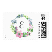 Pastel Watercolor Floral Wreath & Butterfly Postage