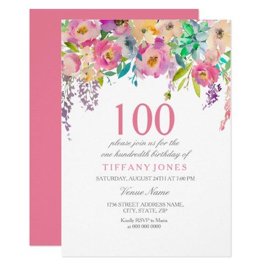 Pastel Watercolor Flowers 100th Birthday Party Invitation Zazzle Com