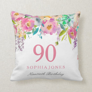 Pastel Watercolor Flowers 90th Birthday Gift Throw Pillow