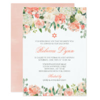 Pastel Watercolor Flowers Bat Mitzvah Invitations