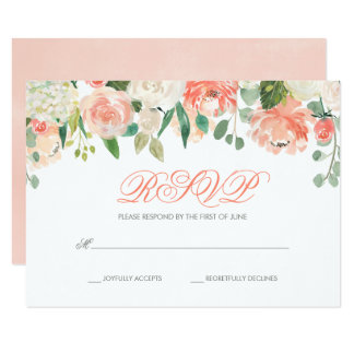 Pastel Watercolor Flowers Bat Mitzvah RSVP Card