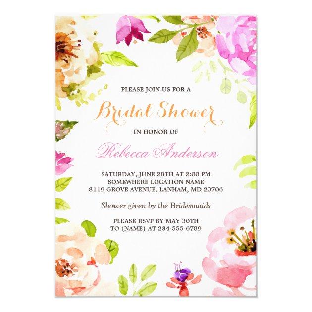 Pastel Watercolor Flowers Botanical Bridal Shower Card