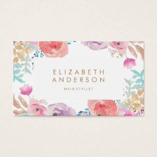 Pastel Watercolor Flowers Business Card