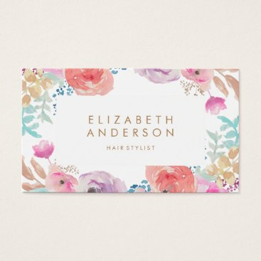 Professional Business Pastel Watercolor Flowers Business Card