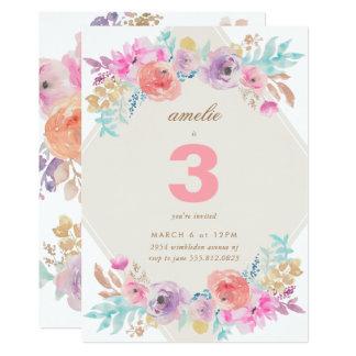 Pastel Watercolor Flowers Kids Birthday Invitation