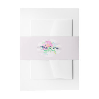 Pastel Watercolor Flowers Mini Floral Bouquet TY Invitation Belly Band