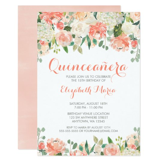 Pastel Watercolor Flowers Quincea 241 Era Card Zazzle Com