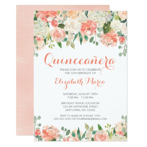 Pastel Watercolor Flowers Quinceaera Invitation