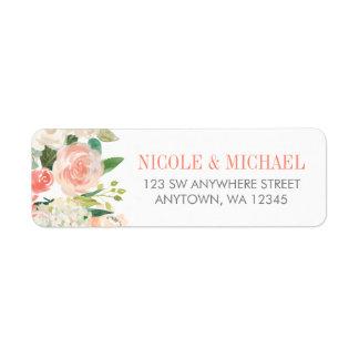 Pastel Watercolor Flowers Return Address Label