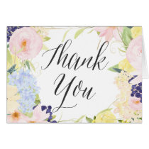 Pastel Watercolor Flowers Thank You Card