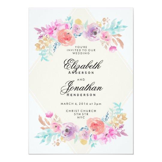 pastel watercolor flowers wedding invitation. Black Bedroom Furniture Sets. Home Design Ideas