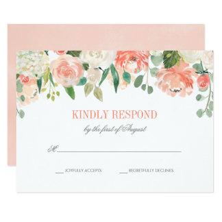 Pastel Watercolor Flowers Wedding RSVP Card
