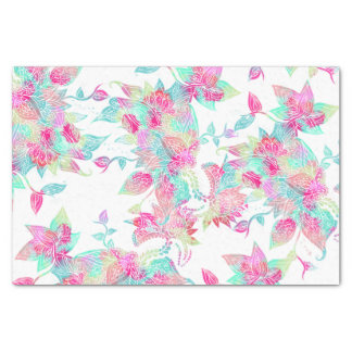 "Pastel watercolor girly hand drawn floral pattern 10"" x 15"" tissue paper"