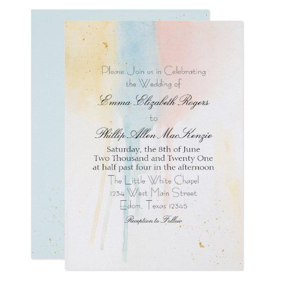 Pastel Watercolor Paint Drip Blue Artistic Modern Invitation