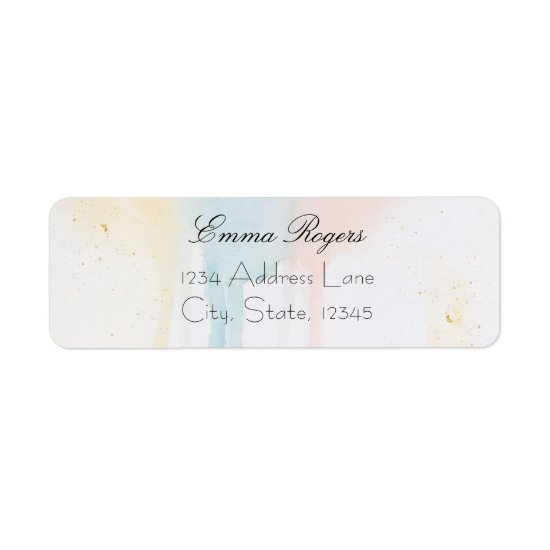 Pastel Watercolor Paint Drip Faux Gold Chic Modern Label