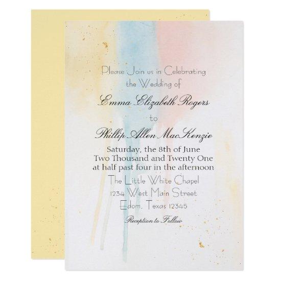 Pastel Watercolor Paint Drip Gold Artistic Modern Invitation