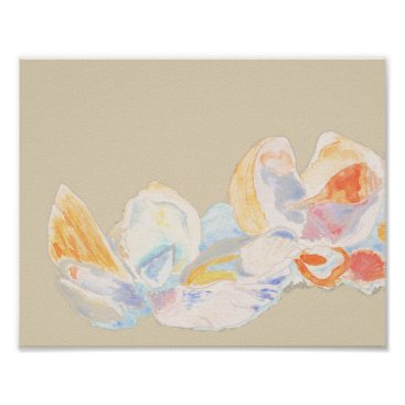 Beach Themed Pastel Watercolor Seashell Poster
