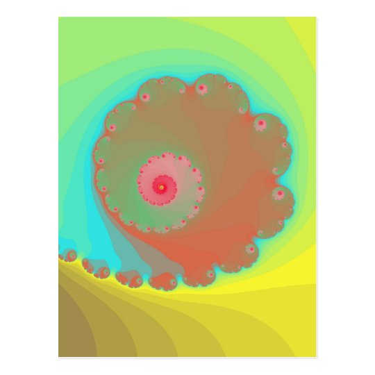 Pastel Watercolor Spiral Fractal Postcard