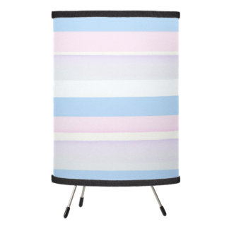 Pastel watercolor stripes blue and pink tripod lamp