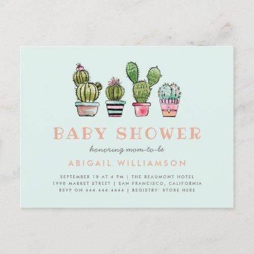 Pastel Watercolor Succulent Cactus Baby Shower Invitation Postcard