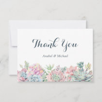 Pastel Watercolor Succulents Thank You Card