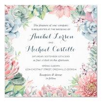 Pastel Watercolor Succulents Wedding Invitation