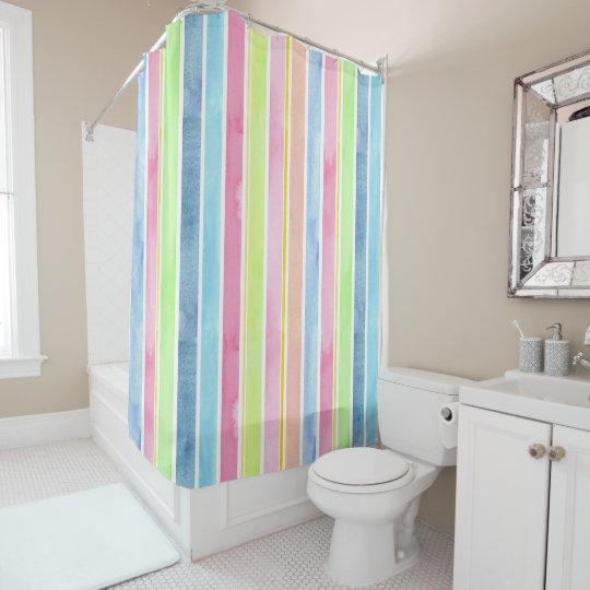 Pastel Watercolor Vertical Stripes Shower Curtain