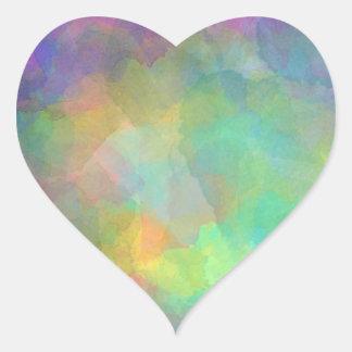 Pastel Watercolors Abstract Art Heart Sticker