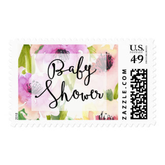 Pastel Watercolour Flowers Baby Shower Stamp
