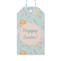 Pastel Watercolour Painted Easter Egg Pattern Gift Tags