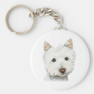 Pastel Westie Dog Keychain