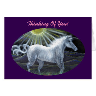 Pastel White Horse Card