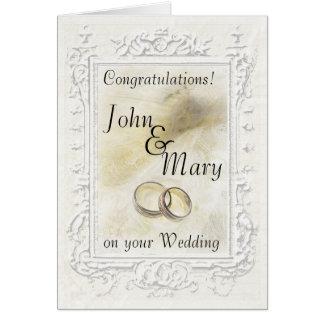 Pastel White Peacock Wedding Congratulation Card