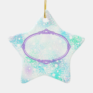 Pastel & White Spray of Polka Dots Custom Pattern Double-Sided Star Ceramic Christmas Ornament