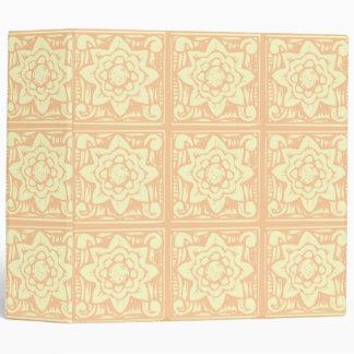 Pastel Woodcut Flowers Pattern Binder