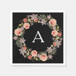 Pastel Wreath Black Monogram Napkins