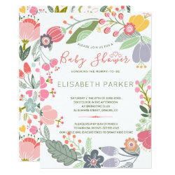 Pastel wreath of meadow blooms spring baby shower invitation