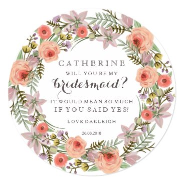 antiquechandelier Pastel Wreath Will You Be My Bridesmaid Card