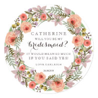 Pastel Wreath Will You Be My Bridesmaid personalizable 5.25x5.25 Square Paper Invitation Card