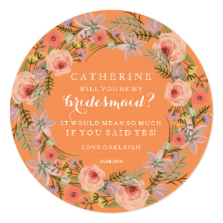 Pastel Wreath Will You Be My Bridesmaid | Orange Card