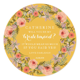 Pastel Wreath Will You Be My Bridesmaid | Yellow Card