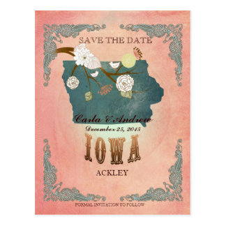 Pastel Yello Save The Date - Map With Lovely Birds Postcard