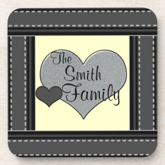 Pastel Yellow Add Your Family Name Hearts Coasters