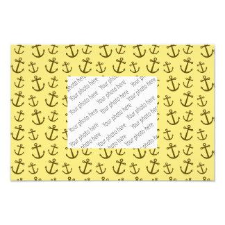 Pastel yellow anchor pattern photo print