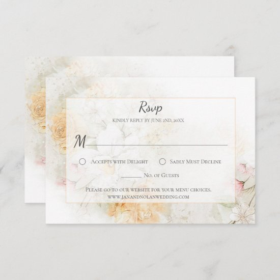 Pastel Yellow and Pink Watercolor Roses RSVP