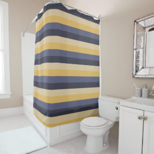 Pastel Yellow And Purple Stripe Shower Curtain