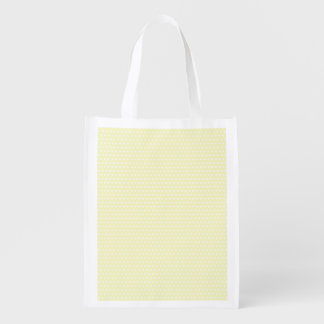 Pastel Yellow and Small White Polka Dots Reusable Grocery Bag
