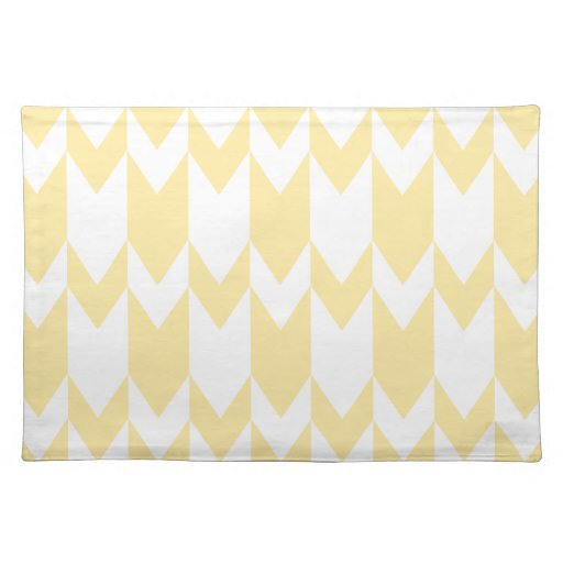 Pastel Yellow and White Chevron Pattern. Cloth Placemat