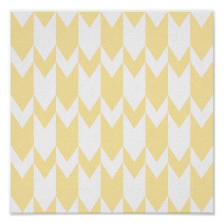Pastel Yellow and White Chevron Pattern. Poster